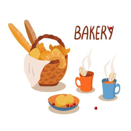 Vector hand drawn lettering and illustration of bakery products isolated on white background. Wicker basket full of fresh broad and croissants. Cute tea mugs with pieces of lemon.