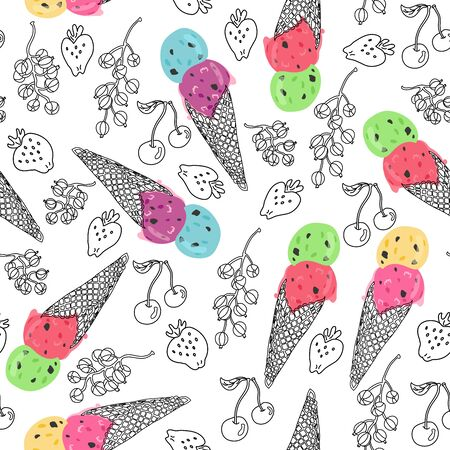 Vector seamless pattern with hand drawn berries and ice cream cones on white. Great for fabrics, wrapping papers, covers. Doodle style with bright color elements. Strawberries, currant, cherries. Illustration