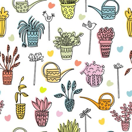 Doodle vector seamless pattern with houseplants in pots, watering cans, birds, dragonflies, butterflies. Color elements. Great for fabrics, wrapping papers, covers. Ink hand drawn illustration on white