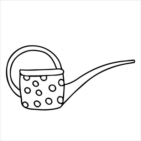 Watering can long spout decorated with polka dots in doodle style. Hand drawn vector illustration in black ink isolated on white background. 向量圖像