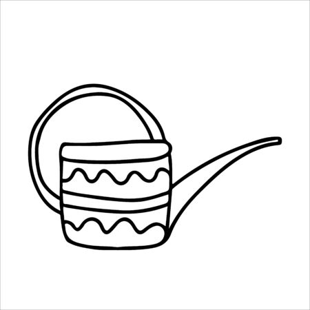 Watering can long spout decorated with ornaments in doodle style. Hand drawn vector illustration in black ink isolated on white background. 向量圖像