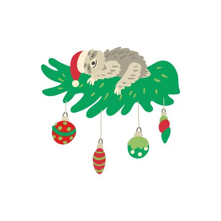 A cute sleeping sloth on a beautiful decorated christmas branch. Nice santa hat and xmas balls. Vector illustration isolated on white background. Great for cards, posters and xmas souvenir products. Иллюстрация