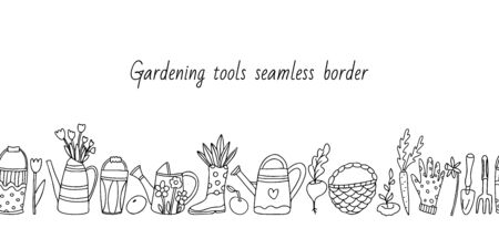 Vector seamless border with gardening tools and vegetables on white background. Garden trowel, fork, bucket, watering can, glove, wicker basket, flowers. Doodle style illustration in black ink.