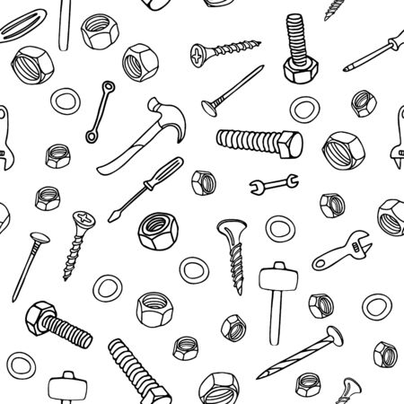 Vector seamless pattern with nuts, bolts, nails, screws, hammers, wrenches, screwdrivers on white background. Great for fabrics, wrapping papers, wallpapers, covers. Doodle style, black ink.