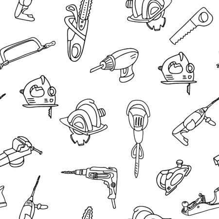 Vector seamless pattern with builder tools. Hammer drill, power saw, chainsaw, electric screwdriver, coping saw, hacksaw. Great for fabrics, wrapping papers, covers. Doodle style, black ink.