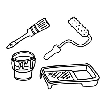 Wall paint tools set in doodle style. A paint roller, a bucket of paint, a brush and a paint tray isolated outline. Hand drawn vector illustration in black ink on white background.