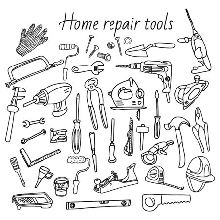 Big set of home repair tools in doodle style. There are hand and electrical tools, wall painting and woodwork tools, different screwdrivers, drills, hammers, bolts, nails and nuts, measuring tools. Иллюстрация