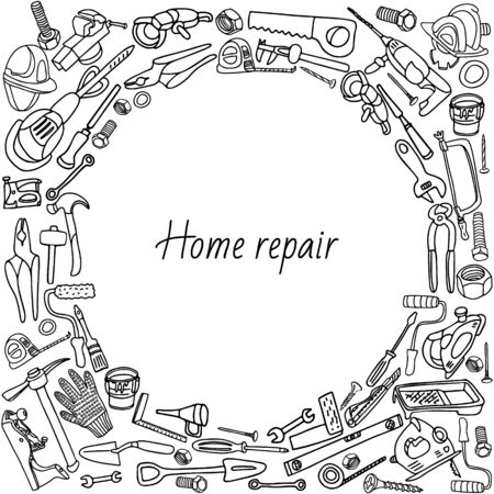 Home repair tools frame. Hand drawn vector illustration isolated on white. Doodle border design.