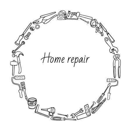 Round frame composition of home repair tools. Hand drawn vector illustration isolated on white. Doodle border design.