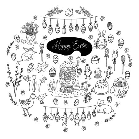 Big Easter set in doodle style. There are treats such as cakes, cupcakes, lollipops, biscuits. Cute decorations, flowers, farm animals, cozy egg house. Garlands with eggs, chickens and rabbits. Vector Illustration