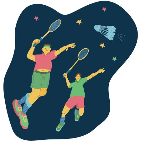 Doubles badminton players swinging their rackets to beat off a shuttlecock. Great sport poster. Vector illustration isolated on dark blue background.