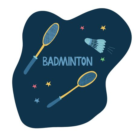 Badminton set with two rackets and a shuttlecock isolated on dark background decorated with colorful stars. Hand drawn illustration and lettering. Great sport poster.