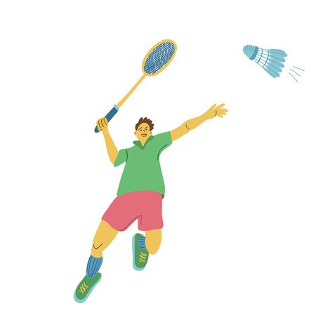 A jumping single badminton player swinging his racket to beat off a shuttlecock. Great sport poster. Vector illustration isolated on white background.