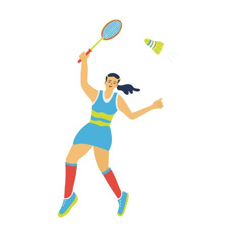 Singles badminton game. Woman swinging her racket to beat off a shuttlecock. Great for sport posters. Vector illustration isolated on white. Blue, yellow, red colors.