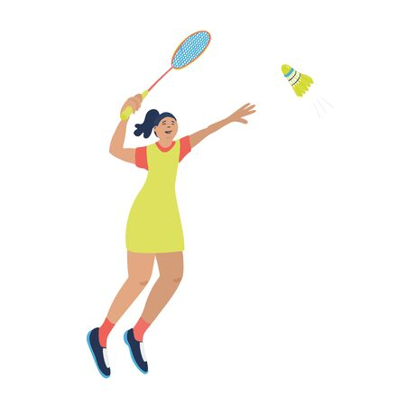Single badminton game. Woman swinging her racket trying to beat off a shuttlecock. Vector illustration isolated on white background. Blue, yellow, red colors. Jumping player. Great for sport posters. Vectores