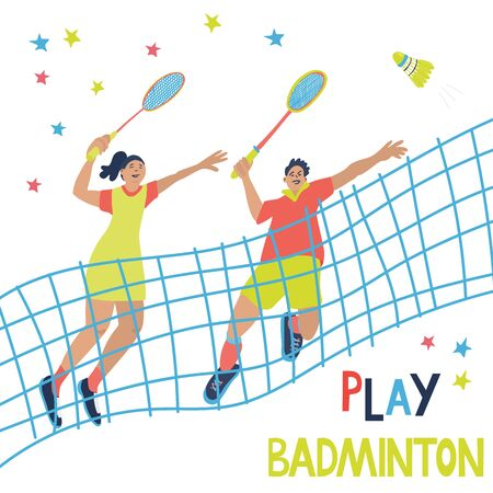 Mixed doubles badminton game. Man and woman swinging their rackets to beat off a shuttlecock. Great sport poster with a net and players. Vector illustration isolated on white. Blue, yellow, red colors