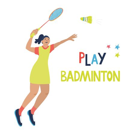 Singles badminton game. Woman swinging her racket trying to beat off a shuttlecock. Vector illustration isolated on white. Jumping player. Great for sport posters. Play badminton lettering.