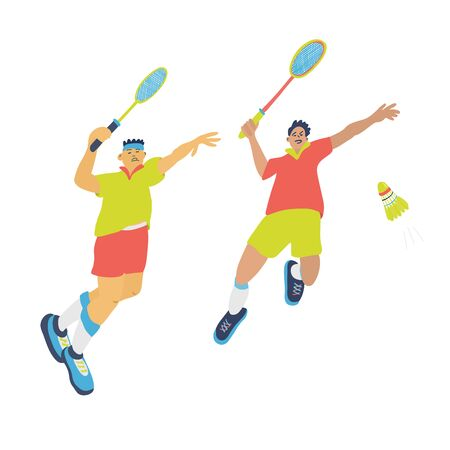 Doubles badminton game. Men jump and swing their rackets to beat off a shuttlecock. Great sport poster. Vector illustration isolated on white background. Blue, yellow, red colors. Çizim