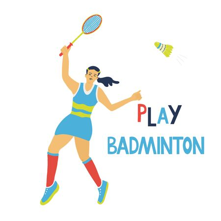 Singles badminton game. Woman swinging her racket to beat off a shuttlecock. Play badminton lettering. Great sport posters. Vector illustration isolated on white. Blue, yellow, red colors. Vectores