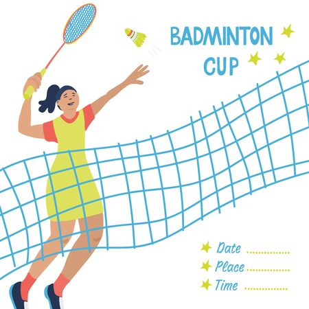 Singles badminton game. Woman swinging her racket to beat off a shuttlecock. Great sport poster with a net and a player. Vector illustration isolated on white. Blue, yellow, red colors.