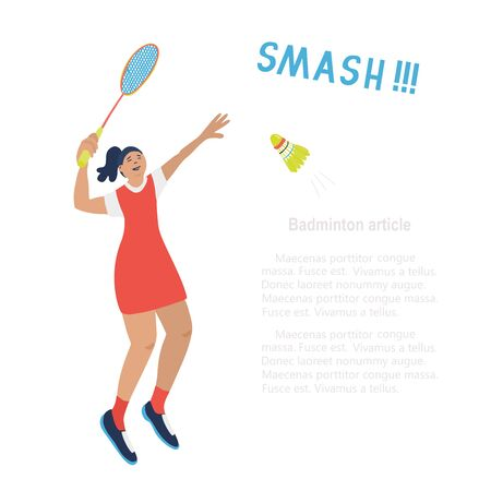 Singles badminton game. Woman swinging her racket trying to beat off a shuttlecock. Vector illustration isolated on white. Jumping player. Smash lettering. Template for sport articles. Square format. Vectores