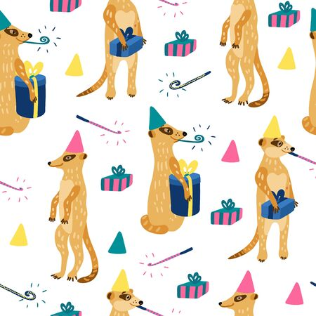 Vector seamless pattern with cute meerkats. They have gift boxes and party blowers. Great for fabrics, baby clothes, wrapping papers. Happy birthday theme.