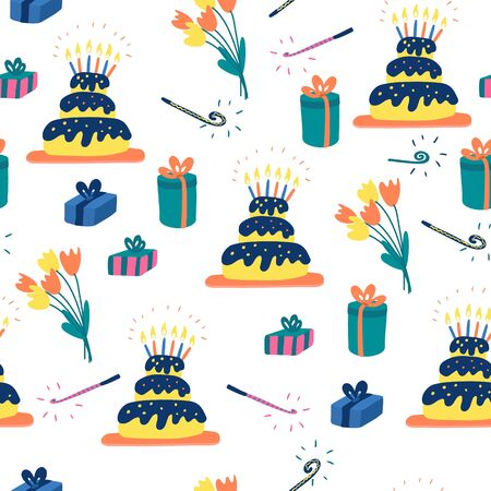 Seamless pattern with birthday cakes, shining candles, gift boxes, party blowers and bouquets of tulip flowers. Hand drawn vector illustration on white background.