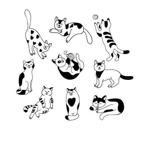 Set with cute cats isolated on white background. Different poses and tempers. Lazy, playful, affectionate, quiet, gentle. Hand drawn vector illustration in black ink on white background. Doodle style Vektoros illusztráció