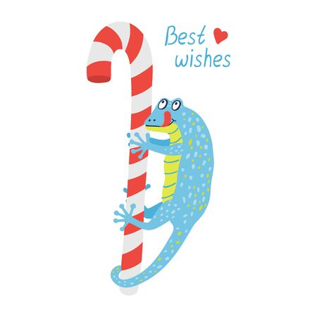 A cute blue gecko is hanging on a red candy cane. It's happy and wants to eat sweets. Best wishes hand drawn lettering. Illustration isolated on white background.