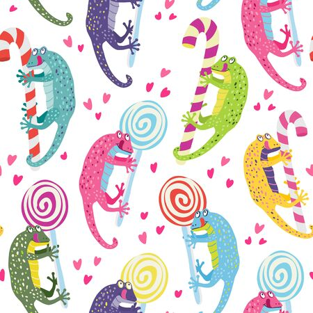 Vector seamless pattern with a cute colorful geckos. They have lollipops and candy canes. They are smiling. Great for fabrics, baby clothes, wrapping papers.