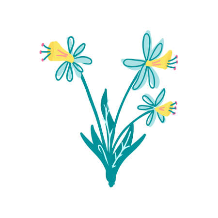 Three daffodil flowers. Great for Easter greeting cards. Hand drawn vector illustration isolated on white background.