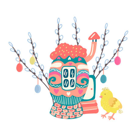 A little chick near cozy egg house surrounded by willow twigs decorated with colorful easter eggs. Hand drawn vector illustration isolated on white background. Great for Easter greeting cards. Stock Illustratie