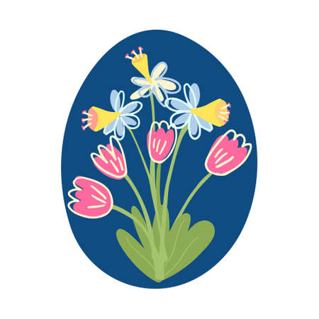 Dark blue Easter egg decorated with a nice bouquet of daffodils and tulips. Great for Easter products design. Hand drawn vector illustration isolated on white background.