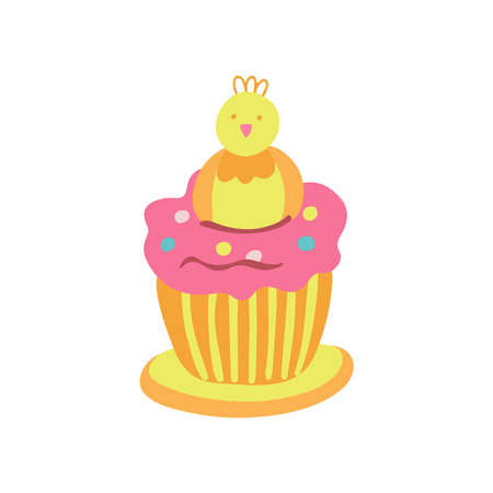 Easter cupcake decorated with a little chicken, jelly beans and pink whipped cream. Great for Easter products design, greeting cards, treats. Hand drawn vector illustration isolated on white.