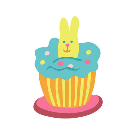 Easter cupcake decorated with a rabbit biscuit, jelly beans and color whipped cream. Hand drawn vector illustration isolated on white background. Great for Easter products design, cards, treats. Stock Illustratie