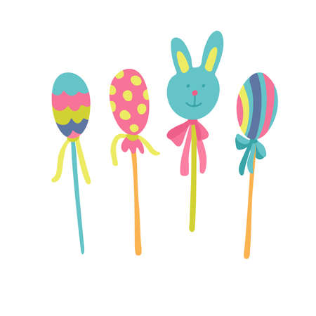 Beautiful Easter eggs decorated with ornaments and bunny head candy on sticks. Great for Easter products design, greeting cards. Hand drawn vector illustration isolated on white background.