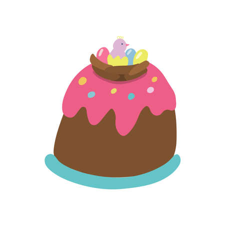 Easter cake decorated with a chocolate nest, a hatched chick, pink glaze and jelly beans. Hand drawn vector illustration isolated on white background. Great for Easter products design, cards, treats.