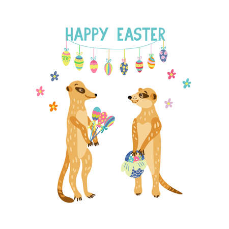 Greeting card with adorable meerkats holding easter gifts such as wicker basket full of colorful eggs, lollipops. Happy Easter lettering. Vector hand drawn illustration isolated on white background.