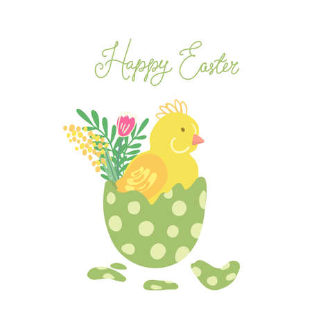 Easter greeting card with a colorful easter egg and a newborn little chicken in it. Spring flowers. Hand drawn vector illustration isolated on white background. Great for Easter products design. Vettoriali