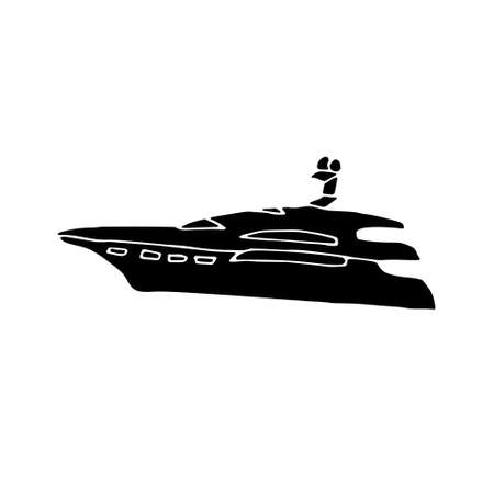 Hand drawn black icon. Vector illustration of a motor yacht silhouette isolated on white background.