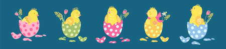 Collection of colorful easter eggs with cute little chickens in them. Great for Easter products design. Hand drawn vector illustration isolated on dark background.