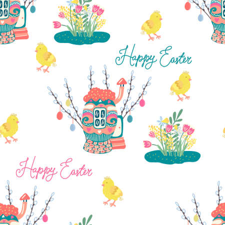 seamless pattern with chickens, cozy egg houses surrounded by willow twigs decorated with colorful little easter eggs. Spring and Easter theme. Hand drawn illustration