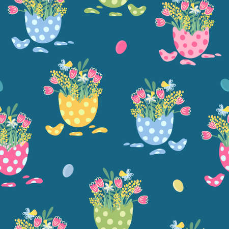 Vector seamless pattern with bouquets of flowers in eggshells. There are daffodils, tulips, mimosas. Bright colors, dark background. Great for fabric, wrapping papers, covers. Easter theme. Illustration