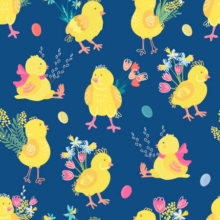 Vector seamless pattern with cute chicks, bouquets of spring flowers and easter eggs. There are daffodils, tulips, mimosas. Bright colors, blue background. Great for fabric, wrapping papers, covers.  イラスト・ベクター素材