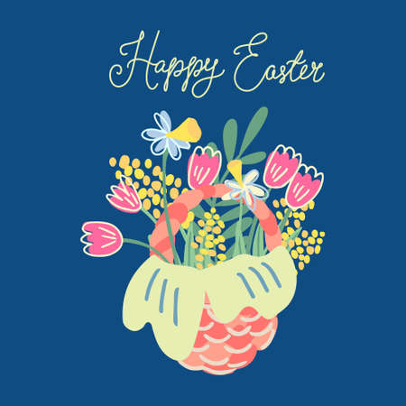 Hand drawn vector illustration of a nice wicker basket with flowers isolated on navy blue background. There are tulips, mimosa and narcissus. Great for Easter greeting cards and posters. Illusztráció