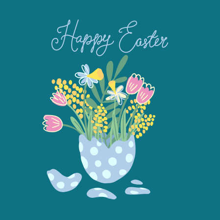 Hand drawn  illustration of a bouquet of flowers in a half of cracked egg. There are tulips, mimosa and narcissus. Great for Easter greeting cards and posters. Isolated on turquoise background. Stock Illustratie