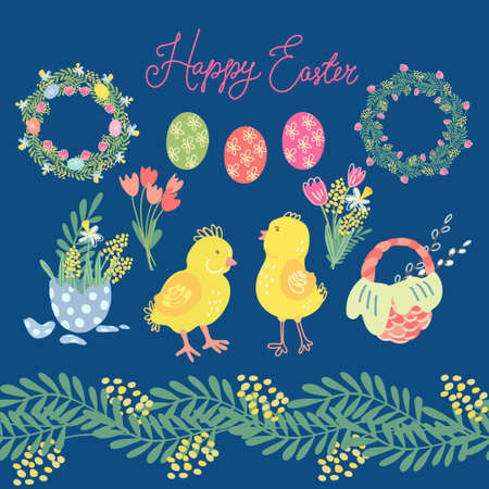 Hand drawn big vector set of Easter elements for your design of greeting cards and holiday products. Cute little chickens, eggs, wicker basket, wreaths, spring flowers like tulips, mimosa, narcissus. Illusztráció