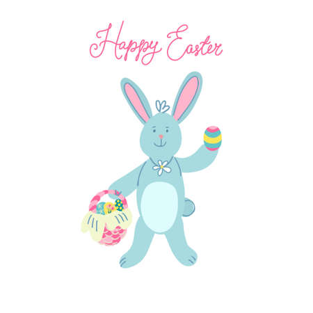 A cute Easter bunny with a wicker basket full of easter eggs. Hand drawn vector illustration isolated on white background. Happy Easter lettering.