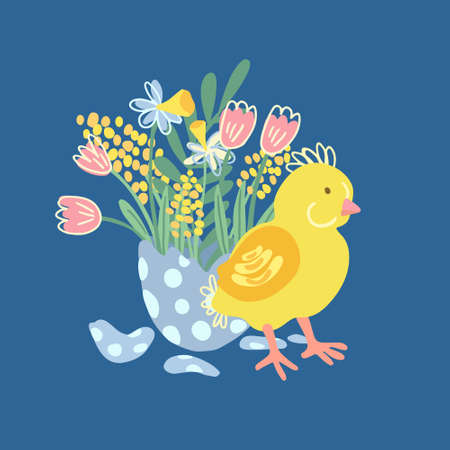 Hand drawn  illustration of a cute little chicken with a bouquet of flowers in the half of cracked egg. There are tulips, mimosa and narcissus. Stock Illustratie