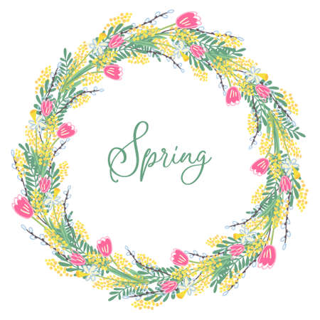 A beautiful spring wreath with flowers and leaves. There are tulips, mimosa, narcissus and willow twigs. Hand drawn vector illustration isolated on white background. Border design, round form.